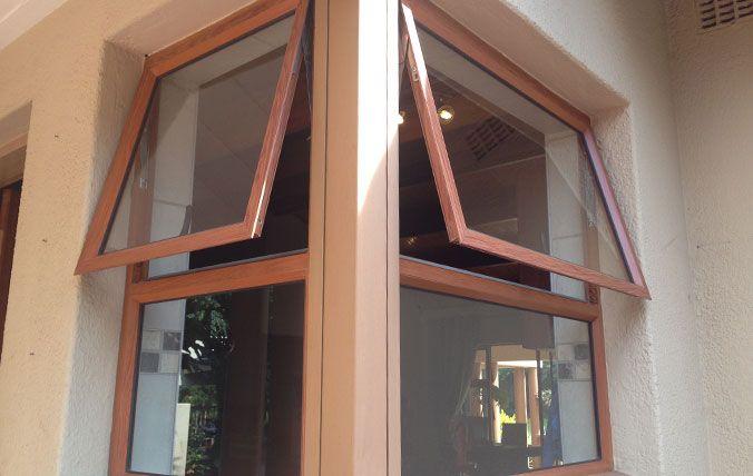 wood look top hung windows