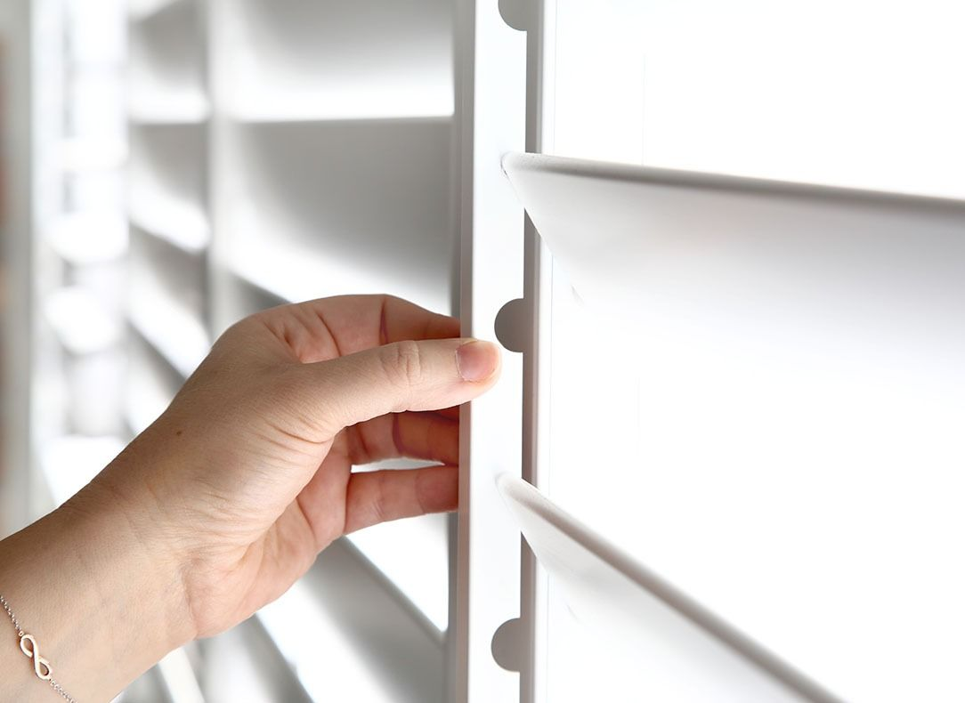 close-up of white security shutters