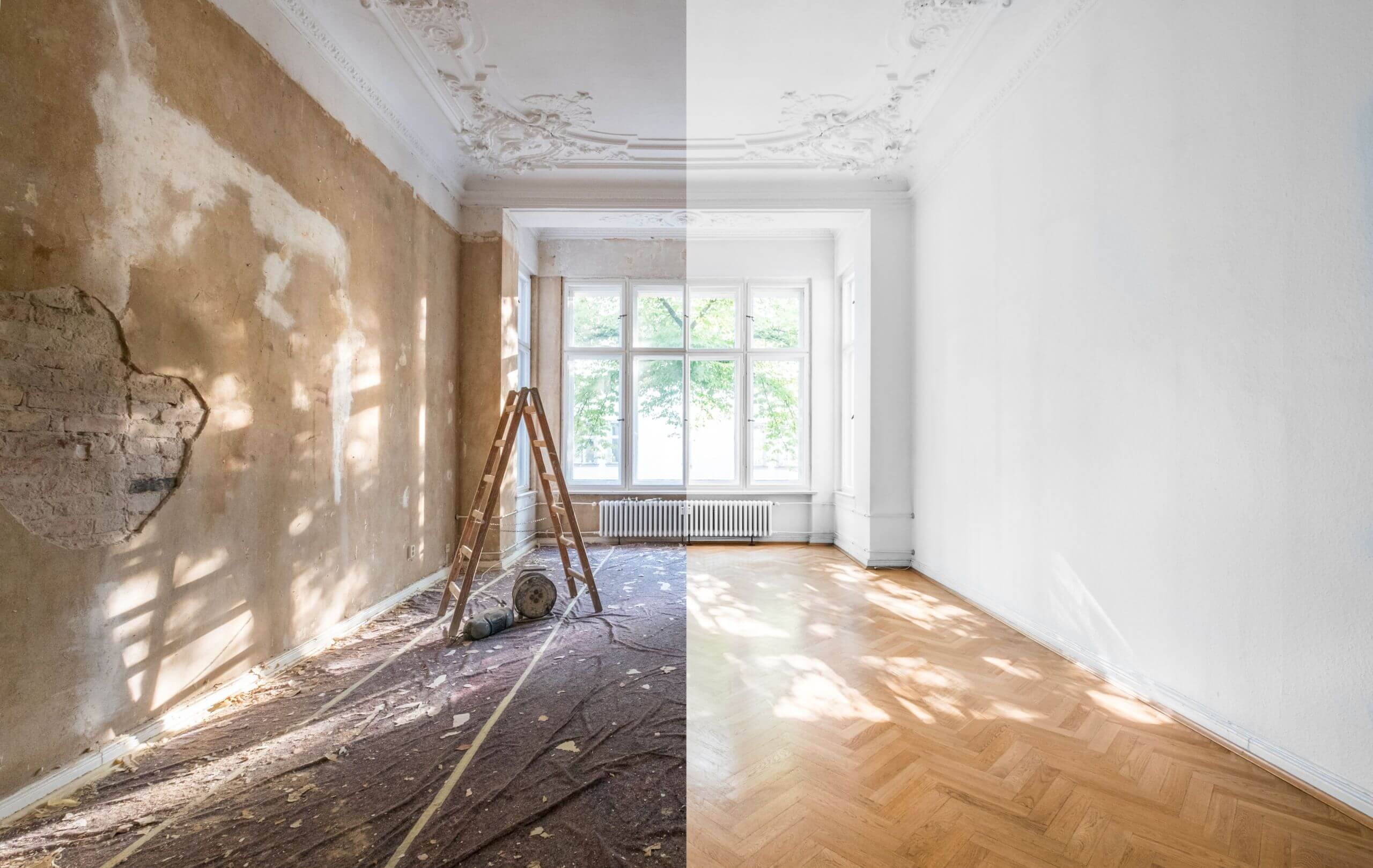 before and after wall painting comparison
